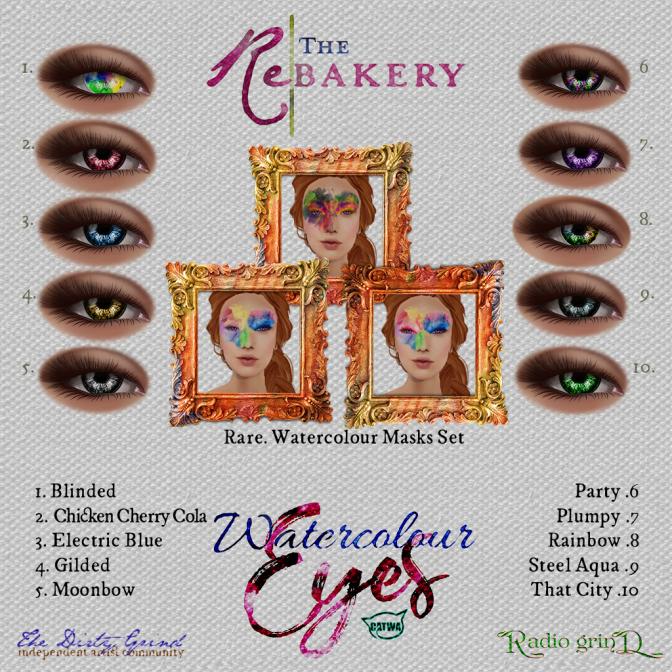 The Rebakery's Watercolour Eyes and Masks - Gatcha Key